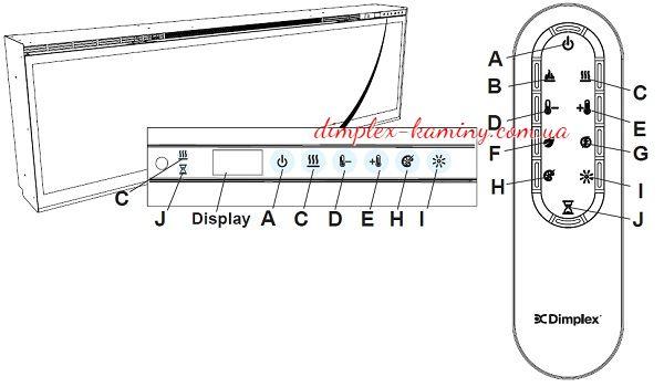 Управление с дисплея и пульта электрокамином Dimplex Ignite XLF74